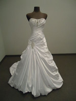 Real Photos Strapless Satin 2013 Customized Wedding Dress Online A-Line Strapless Appliqued Beaded Satin Chapel Train Corset