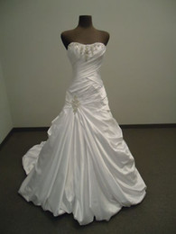 Wholesale 2013 Customized Wedding Dress Online A Line Strapless Appliqued Beaded Satin Chapel Train Corset