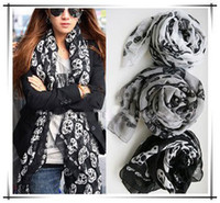 Wholesale Cool Big Skull Cotton Womens Long Scarf Shawl Fashion A903