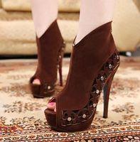 Women Pumps Platform Heel 2013 New Korea Fashion Party Club Shoes Sexy Brown Peep Toe 14CM High Platform Stiletto Heels Shoes