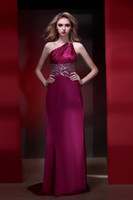 silk stretch satin - 2013 Latest High Fashion One shoulder Sexy Backless Stretch Silk Satin Beading Evening Dresses ED348