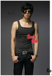 Wholesale Summer fashion Men s sleeveness Tshirt leisure slim fit men s polo short tank top colors