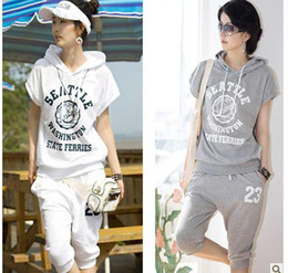 Wholesale 2013 summer wear women s clothing han edition code sports wear short sleeved minutes of pants flee