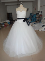 Wholesale New Strapless Corset Bridal Dresses Bow Sash Applique Tulle Plus Size Ball Gown Wedding Dresses