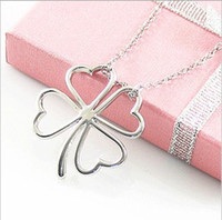 Wholesale Star Sweater Chain Silver Glossy Love Shaped Four leaf flowers Heart Lucky Clover Pendant Necklace