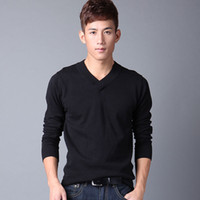 Wholesale Male male sweater V neck long sleeve knitted sweater