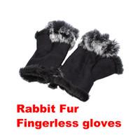 Wholesale 100 pairs Rabbit Fur Hand Wrist Warmer Fingerless Gloves