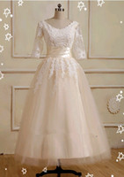 Wholesale Tea length Lace Sleeves Tulle A line Wedding Dress Bridal Gown SIze