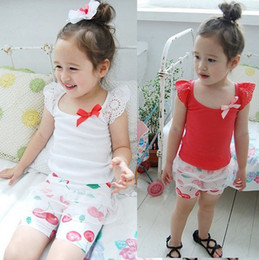 Wholesale 5pcs Children girl s summer clothing fairy sleeveless small vest cotton laciness t shirt sz58