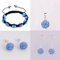 Bracelet,Earrings & Necklace Celtic Women's Charming Shamballa jewelry set 925 Silver baby blue 10mm disco ball necklace+bracelet+stud+earrings