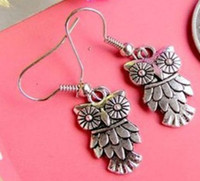 Wholesale MIC pairs Owl With Cute Feather Charm Earrings Silver Ear Hook With Gift Box