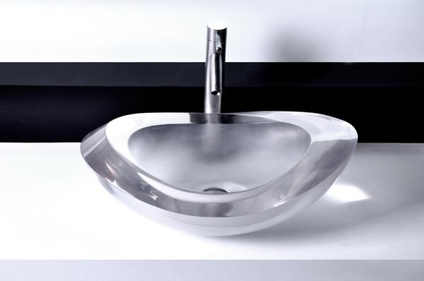 Cuarto de baño de piedra artificial oval encimera lavabo de diseño ...