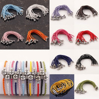 Wholesale Inch Mix Color BRAID LEATHER quot LOVE quot CLASP CHARM BRACELET Leather LOVE Clasp for European beads