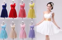 Wholesale Short Wedding Club Party Bridesmaid Prom Ball Evening Chiffon Dress One Shoulder