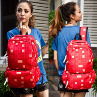 Wholesale Wild Red fashion handbags Korean backpack schoolbag plaid shoulder bag