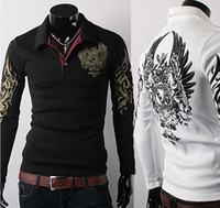 Wholesale Stylish men s T shirts Long Sleeve Polo T Shirt Eagle Tattoo Printing Men Slim Fit Casual Shirt