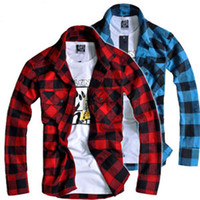 Wholesale New Mens Fit Button Down Casual Slim Shirt Plaid Flannel Warm Woven Shirts