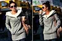 Wholesale Women s Upper Garments female Plush Hat Lapel slant Zip Fleece Hoodies Sweatshirts coats coat