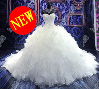 Wholesale Luxury Royal Puffy White Pearl Catherdarl Train Pleated Wedding Dresses Bridal Gowns Organza