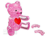 Wholesale 3D Crystal Bear Puzzle IQ Furnish Gadget Jigsaw Pink