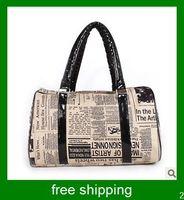 Wholesale Women newspapers printed handbags women shopping pocketed English style handbag
