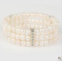 Wholesale Xuerun natural freshwater pearl bracelet three rows of pearl bracelet