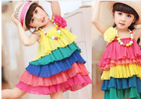Wholesale girl dress kids Tank Tops multicolored backfin braces skirt The most cool Beach wind children Skirt