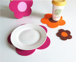 Wholesale High Quality Fashion Felt Beautiful Sunflower Table Mat Cup Mat Coaster With Chinese Character
