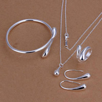 Wholesale Bright Drop Silver Fashion Jewelry Set High sales fashion charm Necklace earrings rings bracelets Set Jewelry S222