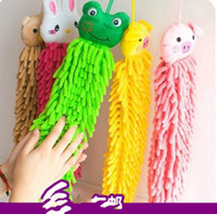 Wholesale Chenille fabric lovely Cartoon Hand towel Cute Animal cleaning towel for Kitchen Bathroom Office Ca