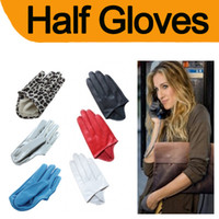 Wholesale Sex and The City Style PU Leather Women Five Finger Half Palm Gloves Lady Gaga
