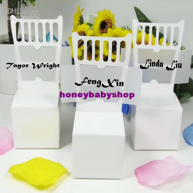 White Chair Wedding Place Card Holders Favor Boxes Favor Box Cheap Gift Boxes Wedding Gift Card