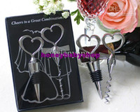 Wholesale Two Hearts Wine Favor Set Bottle Opener Stopper Wedding Favors Gifts