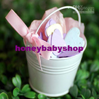 Favor Tins and Pails Pink Metal Mini White Pail Mint Tin Wedding Favors DIY Beach wedding gift