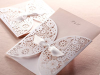 Wholesale Elegant Lace Cutout Floral Wedding Invitation Cards in Champagne