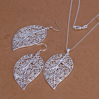 Wholesale Beautiful Elegant Tree leaf Silver High quality fashion charm Earrings Necklace Set Jewelry S180