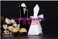 Wholesale 100pcs Wedding favor boxes gift paper bags candy boxes Bridal Gown Dress and Groom s Tuxedo