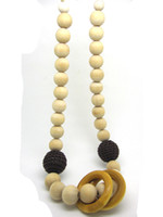 Wholesale Teething Necklace Crochet Nursing Necklace wooden beads coffee wood ring NW1303
