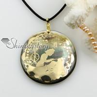 colgantes redondas de concha madre por mayor de la perla de la joyería hecha a mano collar Mop1156TC0 joyería de moda china barata