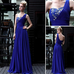 Wholesale In Store Sexy One Shoulder Elegant Halter Knit Floor Length Beaded Blue Prom Dress DH3225