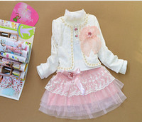 Girl baby silk pieces - children Outfits baby sets girl Bud silk Lace three piece suit Bud silk small coat Bud silk T shirt