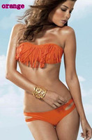 Wholesale Swimwear Sexy Lady Padded Boho Fringe Bandeau Top Strapless Dolly Bikini Set New Swimsuit W5009