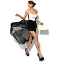Wholesale Fashion Sexy Women s Dress Bandeau Strapless Chiffon Asymmetric Cocktail Evening Dress Black G0142