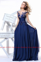 Wholesale 2014 Hot Sexy Jewel Neck Chiffon Navy Blue Ruffles Applique Evening Skirt A Line Prom Dresses