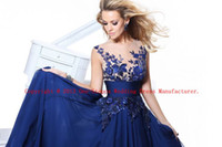 Wholesale 2013 Hot Sexy Jewel Neck Chiffon Navy Blue Ruffles Applique Evening Skirt A Line Prom Dresses