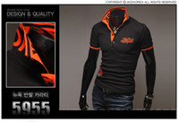 Wholesale NEW Arrived embroidered Men s Slim shirt POLO short sleeve Paul dropship short sleeve T shirt