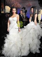 Wholesale 2015 New Sexy Spaghetti Organza Ruffle Mermaid Contoured Floor Length Kim Kardashian Wedding Dress Hi Lo Custom Wedding Gowns