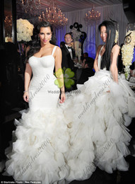 Wholesale 2015 New Sexy Spaghetti Organza Ruffle Mermaid Contoured Floor Length Kim Kardashian Wedding Dress Hi Lo Custom Wedding Gowns