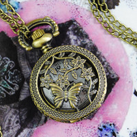 Wholesale Electronic Pocket Watch Steampunk Bronze Engraved Spiderweb Pedant watch necklace GIFT Free Shiping