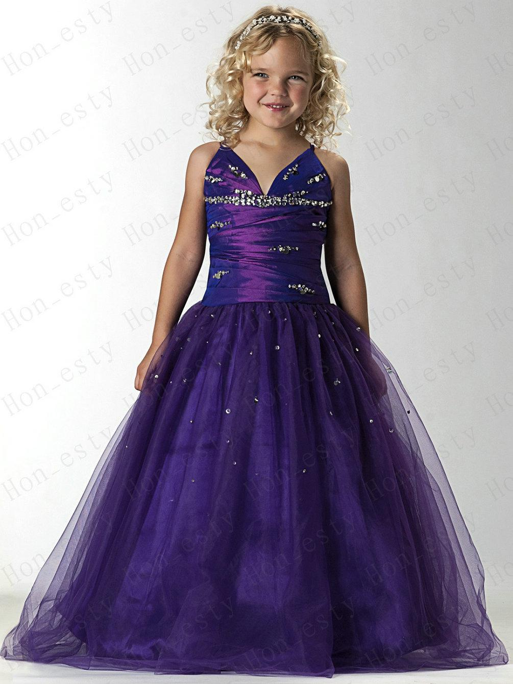 Purple Lovely Flower Girls Dresses Tulle Spaghetti Straps Sequin ...